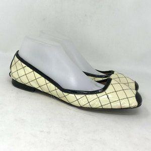Anyi Lu Womens Cream Black Ballet Flats Size 8